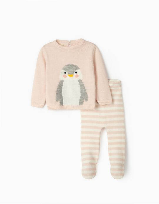 Knitted Jumper and Trousers for Newborns, 'Cute Penguin', Pink