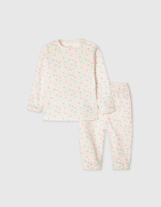Pijama Suave, Bebé, Branco/ Rosa