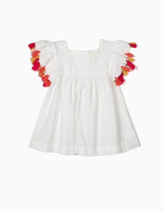 Blusa para Menina com Borlas, Branco