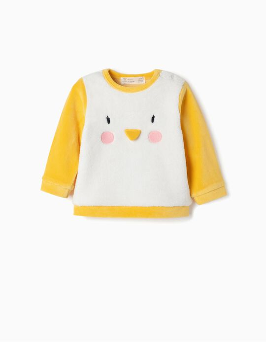 Sweatshirt for Newborn 'Penguin', White/Yellow