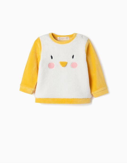 Sweatshirt for Newborn 'Penguin', White/Yellow