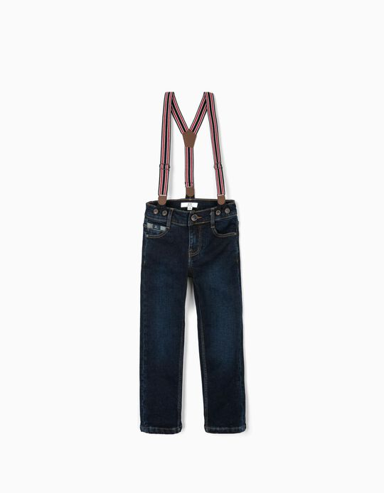 Denim Jeans with Suspenders for Boys, Dark Blue