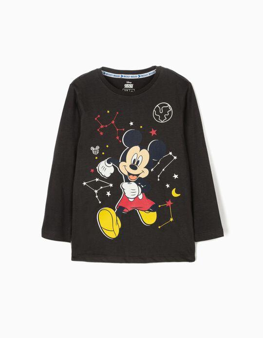 T-shirt Manga Comprida para Menino 'Mickey Space' Cinza Escuro