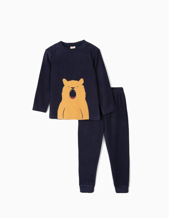 Polar Fleece Pyjamas for Boys 'Bear', Dark Blue