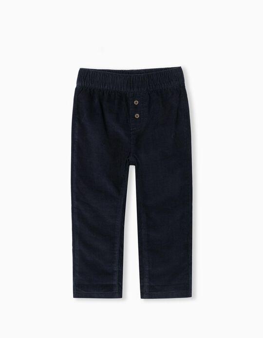 Calças de Veludo, Bebé Menino, Azul Escuro