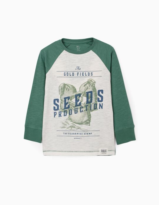 Long Sleeve Top for Boys 'Seeds', White/Green