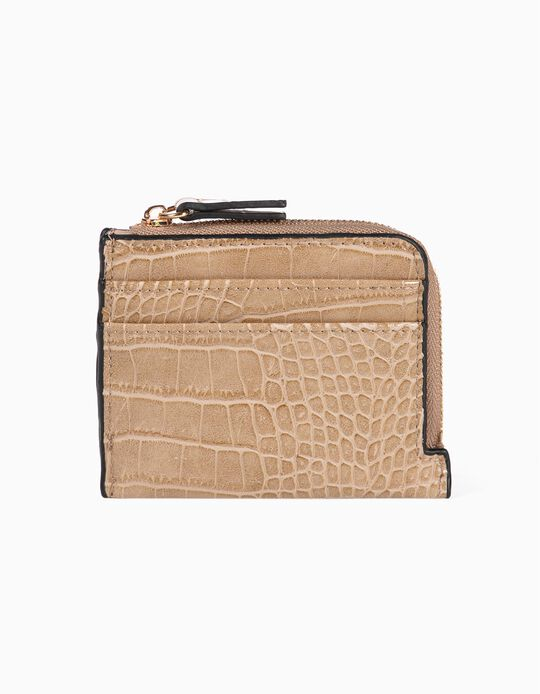 Croc-effect faux leather cardholder