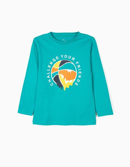 T-shirt Manga Comprida para Menino 'Basketball', Verde-Azulada