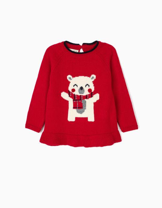 Camisola de Malha Ursinho Vermelha