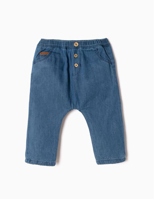 Soft Jeans with Buttons for Newborn, Blue