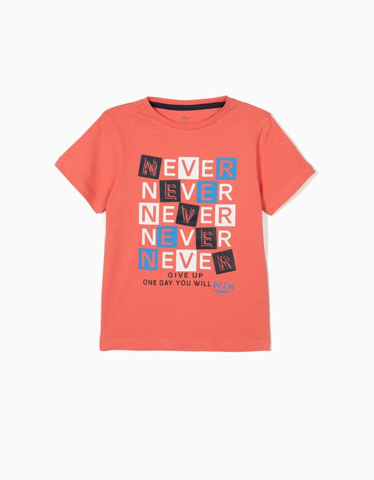 T-shirt para Menino 'Never Give Up', Coral