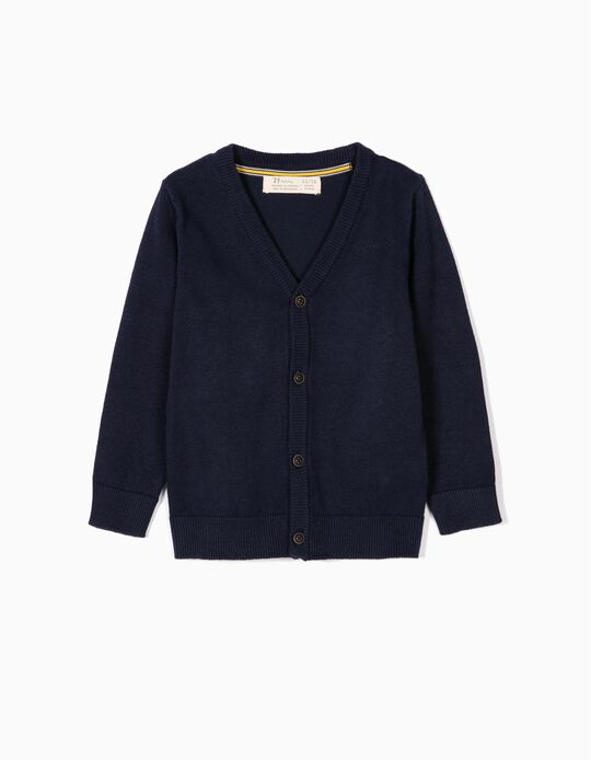 Cardigan with Elbow Pads for Baby Boys, Dark Blue