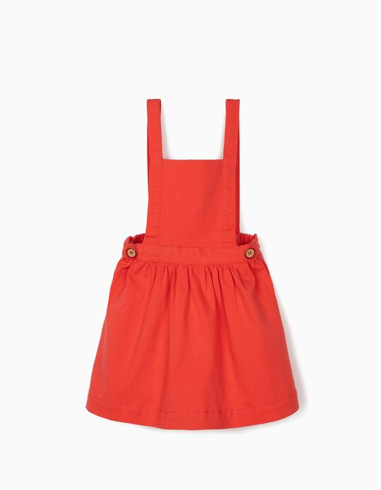 Pinafore Dress for Girls, Coral