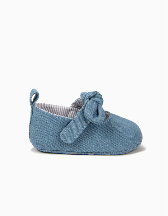 Denim Ballerinas for Newborn Girls with Bows, Blue