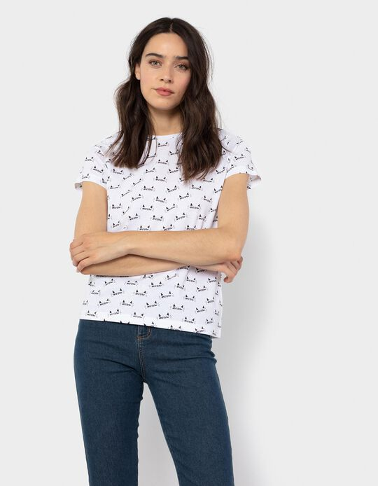 T-shirt with 'Meow' Print, White