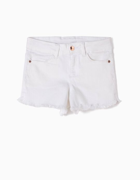 White Frayed Shorts