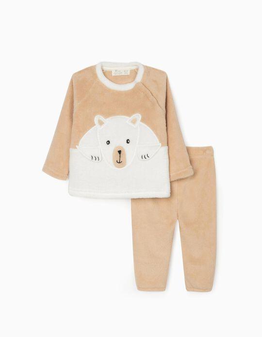Minky Fabric Pyjamas for Babies, Beige