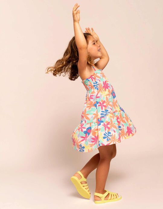 Strappy Floral Dress for Baby Girls, Multicoloured