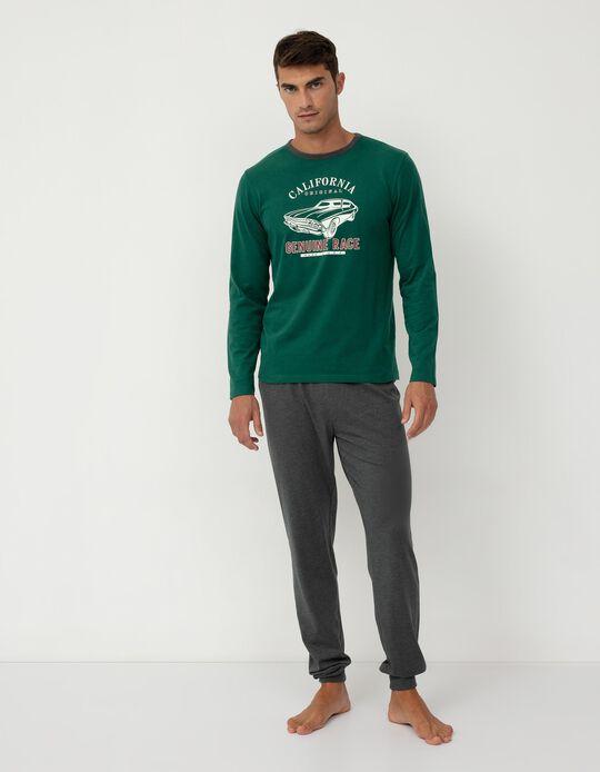 Pijama de Algodão, Homem, Verde/ Cinza