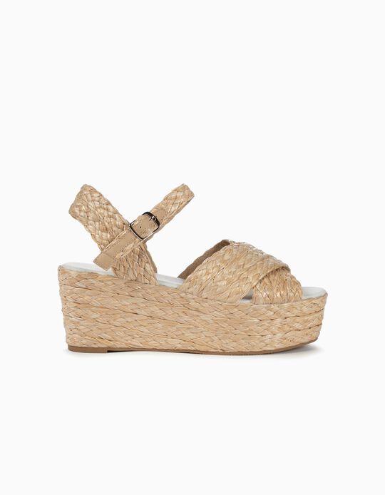 Straw Platform Sandals