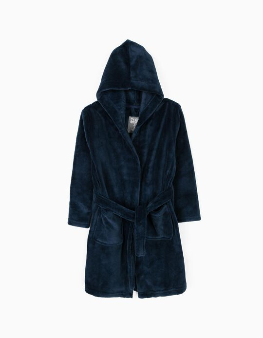 Hooded Bathrobe for Boys, Dark Blue