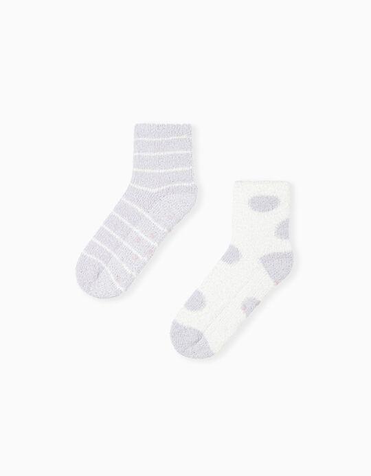 2 Pairs Non-Slip Socks, Lilac