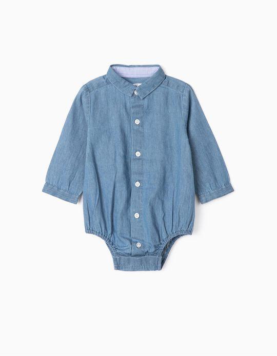 Bodysuit Shirt for Newborn Babies 'Comfort Denim', Blue