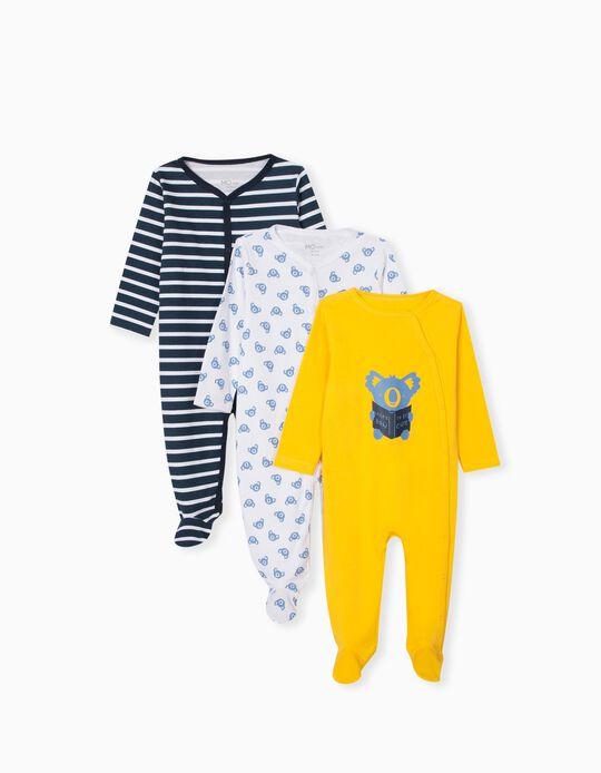 3 Sleepsuits, Babies, Multicoloured