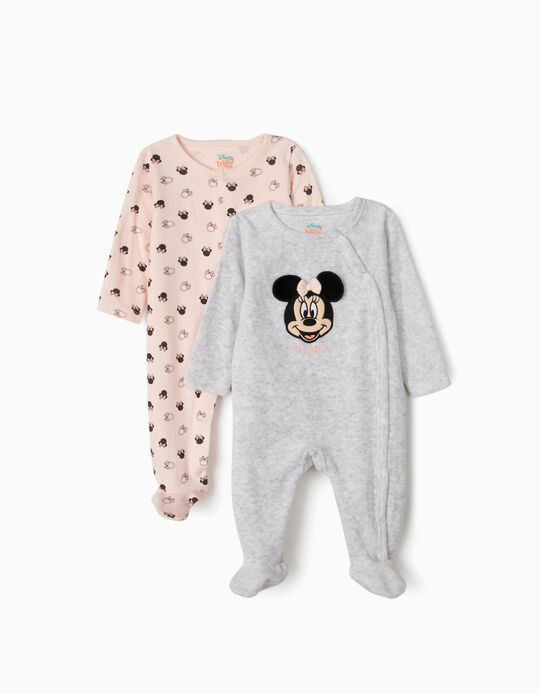 2 Sleepsuits for Baby Girls 'Minnie Mouse', Grey/Pink