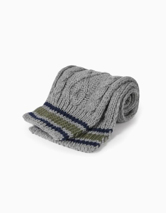 Knit Scarf for Boys, Grey