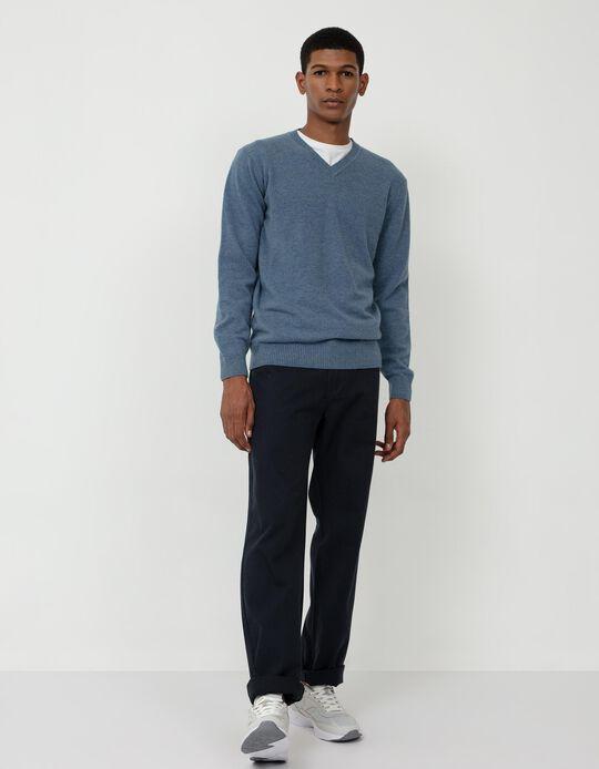 Camisola de Lã, Homem, Azul