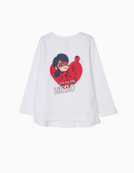 Long-sleeve T-shirt for Girls 'Ladybug', White