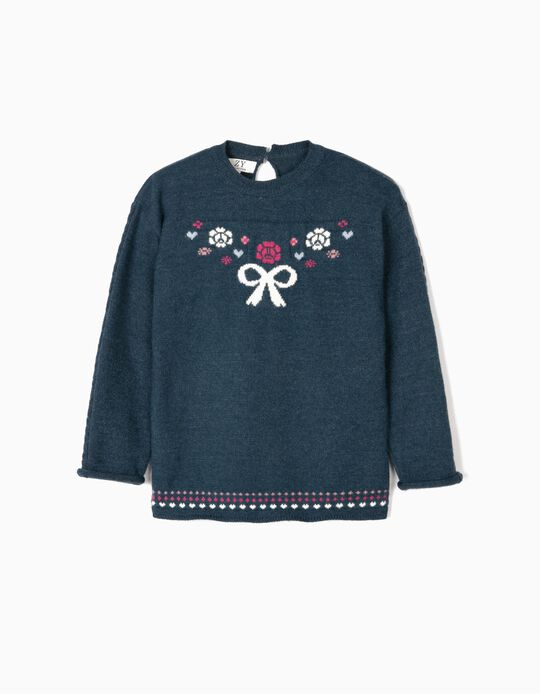 Knit Jumper for Girls 'Bow', Blue