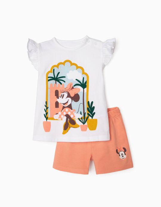 Organic Cotton Pyjamas for Baby Girls, 'Minnie', White/Pink