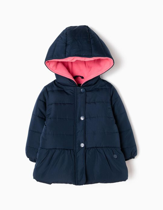 Padded Coat with Hood, Blue