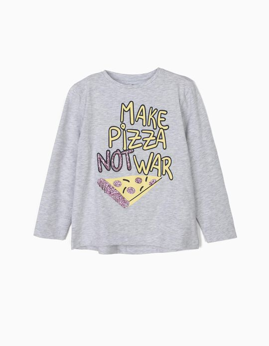 Long-sleeve Top for Girls 'Pizza', Grey
