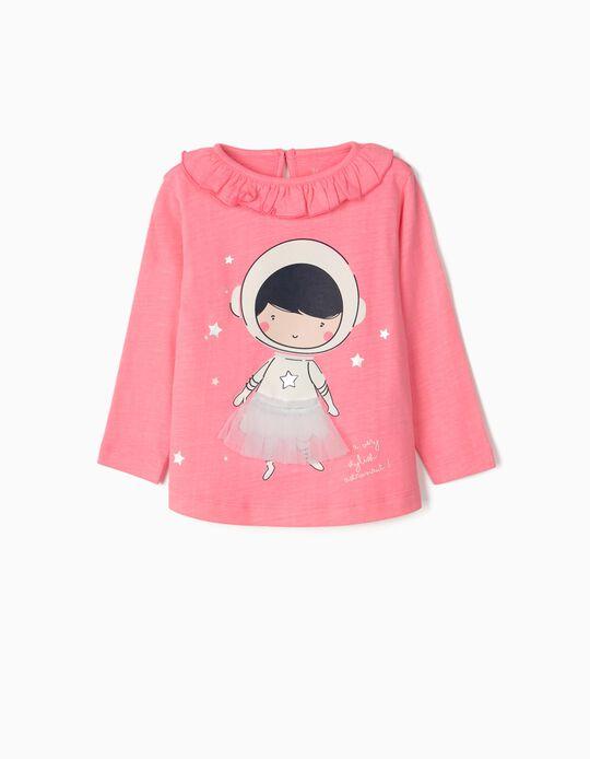 T-shirt Manga Comprida para Bebé Menina 'Astronaut Ballerina', Rosa