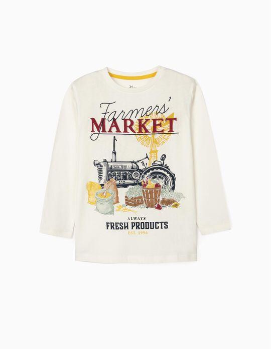 Long Sleeve T-Shirt for Boys 'Market', White