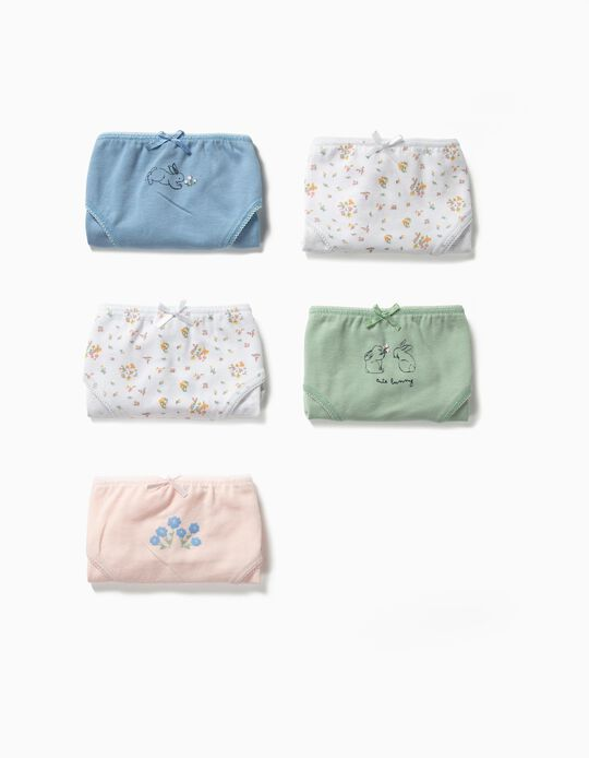 5-Pack Briefs for Girls 'Cute Bunny', Multicolour