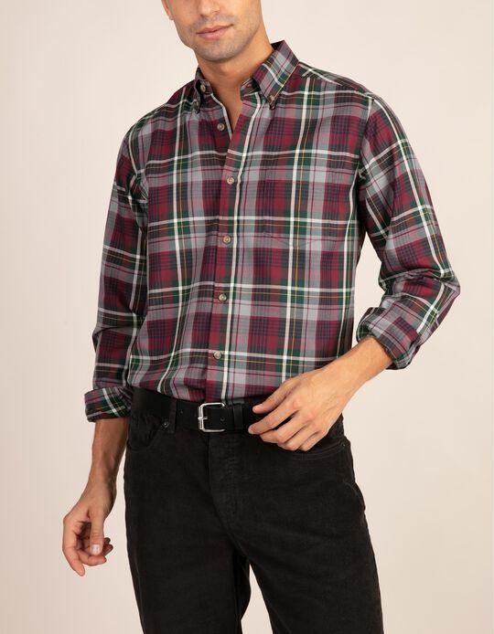 Camisa com padrão tartan com bolso da gama Essentials