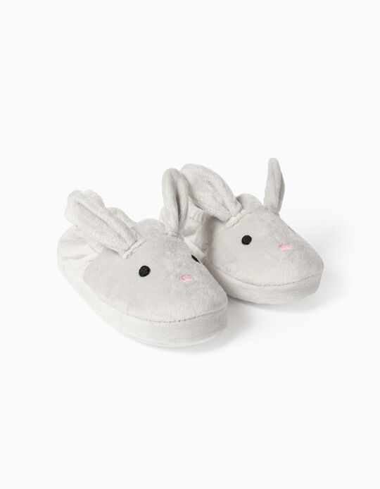 Slippers for Girls 'Cute Bunny', Grey