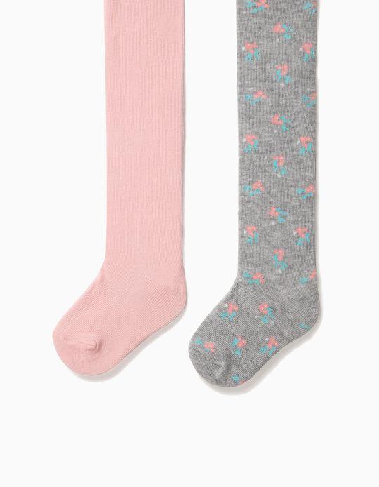 Pack 2 Collants de Malha para Bebé Menina Lisos e Flores, Rosa e Cinza