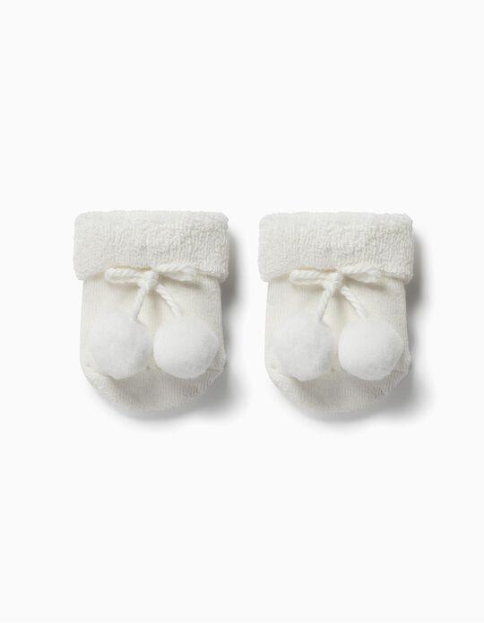 Meias Terry para Bebé com Pompons, Branco