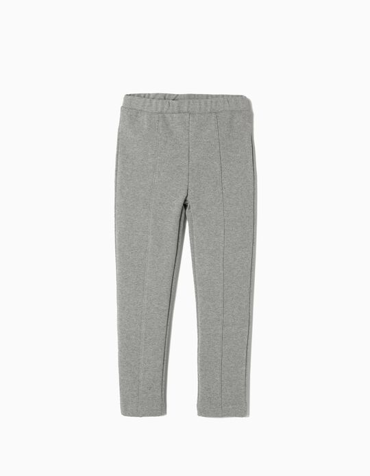 Leggings with Front Crease for Girls, Grey