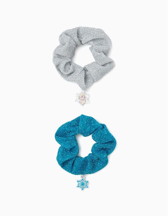 2 Scrunchies for Girls 'Frozen', Blue/Silver
