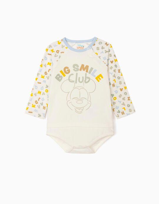 Long Sleeve Bodysuit for Newborn Baby Boys, 'Mickey Mouse', White