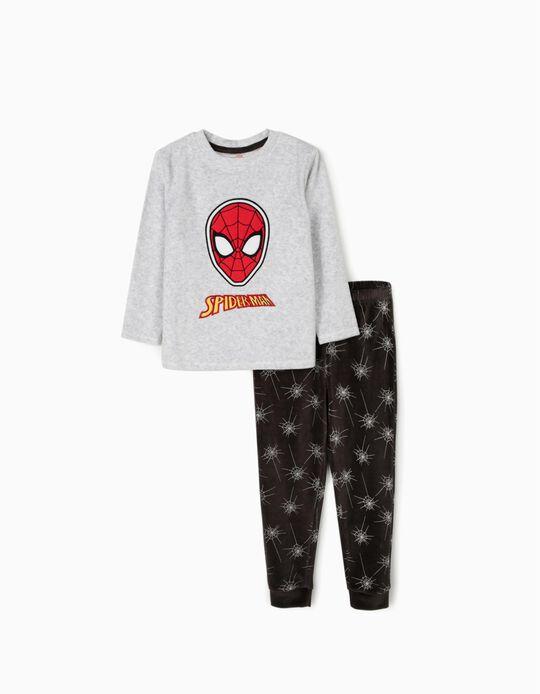 Pijama Veludo para Menino 'Spiderman', Cinza