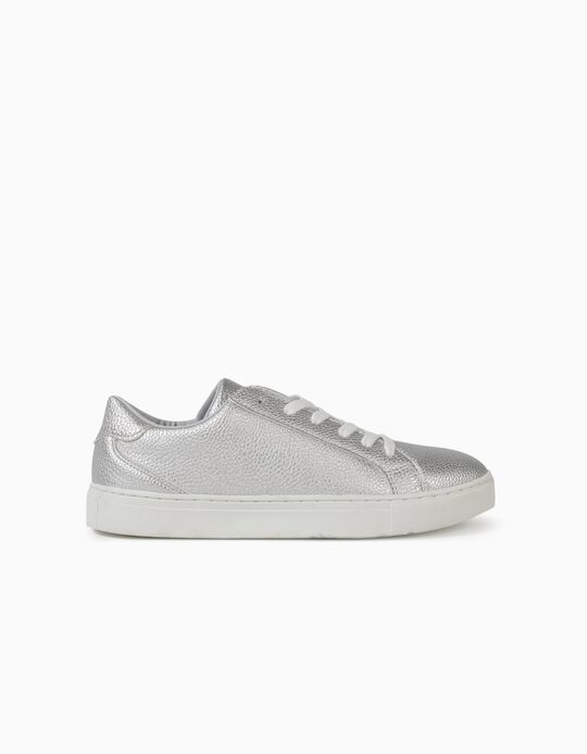 Synthetic Leather Trainers, Silver