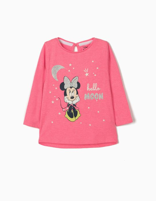 Long Sleeve Top for Baby Girls, 'Minnie Moon', Pink