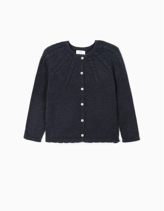 Knit Cardigan for Girls, Dark Blue